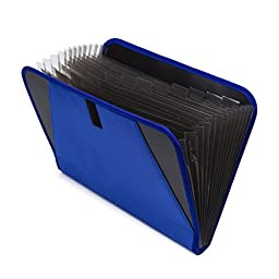 Expandable Portable Accordion File Document Folder File Organizer with Buckle A4 and Letter Size Blue