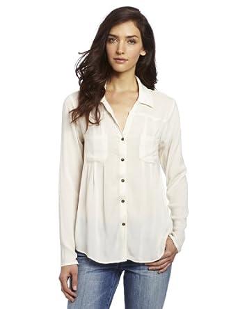 Ella moss women 39 s stella button up shirt off white small for Women s collared button up shirts