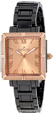 Invicta Women's 14907 Ceramics Rose Gold Dial Black Ceramic Watch