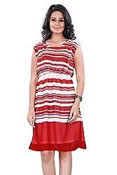 Trendif Women's Dress (1013R_White Red_X-Large)