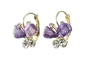 Demarkt Femme Jolie Boucle d'Oreilles Papillon Clous d'Oreilles avec deux Diamant Simulé en Couleur Violet