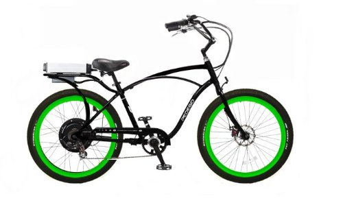 Pedego Black Comfort Cruiser Classic Electric Bike with Green Rims with Black Balloon Tires