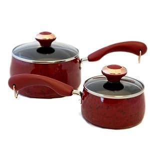 Paula Deen Signature Porcelain 'Red' 2-piece Saucepan Set