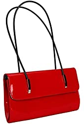 PU Leather Streamline Small Paragraph Handbag Red