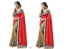Pragya creations Women's Chiffon Saree (Prag28_Multi)-pack of 2