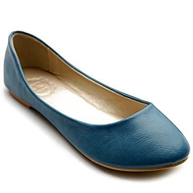Ollio Women's Shoe Ballet Basic Light Comfort Low Heel Flat(5.5 B(M) US, Blue)