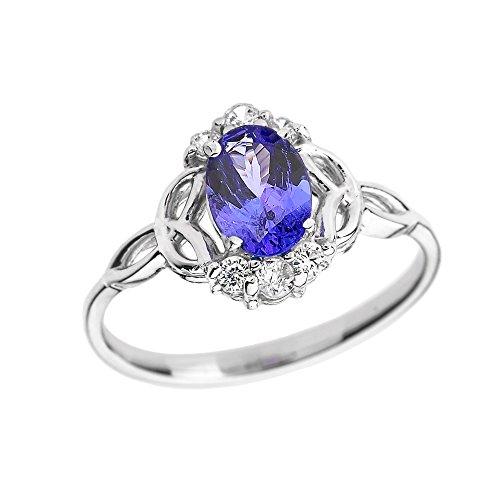 Tanzanite-and-Diamond-10k-White-Gold-Trinity-Knot-Proposal-RingSize-8