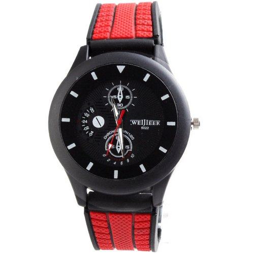 Weijieer Army Military Rubber Jelly Men Sport Quartz Wrist Watch Red Band