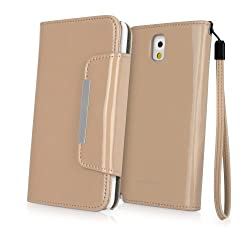BoxWave Patent Leather Clutch Samsung Galaxy Note 3 Case - Vegan Leather Case Design with Card Slots and Premium Interior Design for Samsung Galaxy Note 3 - Samsung Galaxy Note 3 Covers & Samsung Galaxy Note 3 Cases (Sandstone)