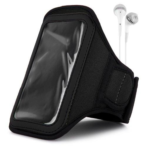 Vangoddy Armband - Dark Black Neoprene Sweat-Proof W/ Key & Id Card Pouch For Apple Ipod Touch 5 Retina Display + White Handsfree Microphone Headphones