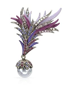 RUCINNI Enamel Faux Pearl and Crystal Women Brooch. Length 63 mm. Total Item weight 10 g.