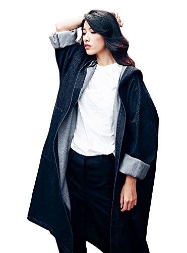 LAI MENG Women Denim jacket Fashion Denim Trench Coat Hooded Outerwear Jean Jacket Plus Size UK 14-28