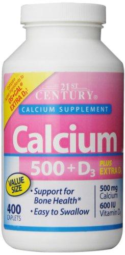 21St Century Calcium 500 Plus Extra D Caplets, 400 Count