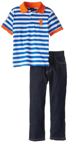 U.S. Polo Assn. Little Boys' 2 Piece Cotton Jersey Stripe With Jeans, Strong Blue, 5 front-281826