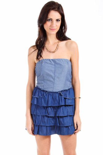 Mystree Chic Ruffled Strapeless Peplum Dress in Denim Blue