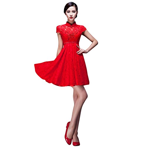 JY Women's High Neckline Short Sleeve Lace Party Dress Red Size US 2