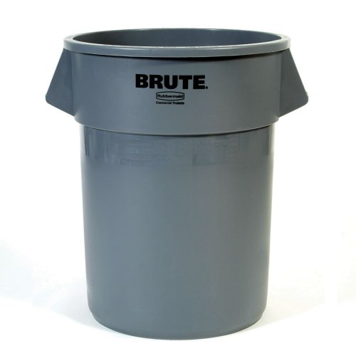 "Rubbermaid Commercial Brute LLDPE 55-Gallon Trash Can without Lid, Legend ""Brute"", Round, 33"" Height, Dark Green at Sears.com"