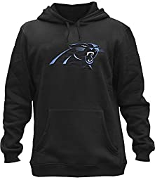 Clor Mens Carolina Panthers Super Athletic Pullover Hoodie - Black XXL