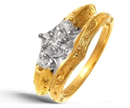 9ct Yellow Gold 0.20ct Diamond Bridal Set Ring