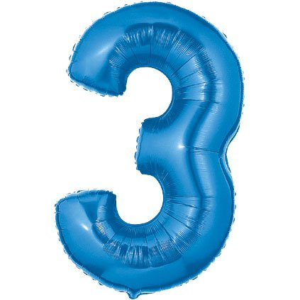 40 Inch Megaloon Blue Number 3 Balloon