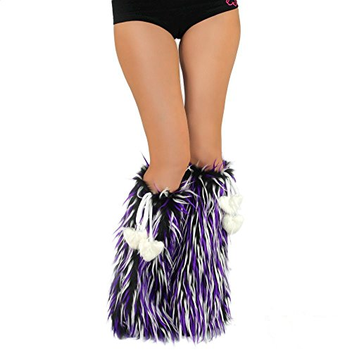 iHeartRaves Fluffy Leg Warmers – Rave GoGo Fluffies (Black, White, Purple)