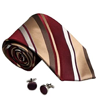 8083 Burgundy Striped Birthday Gifts Husband Silk Ties Cufflinks By Y&G