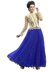 Khushali Presents Soft Net Semi-Stitched Gown(Blue,Cream)
