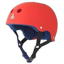 Triple 8 Brainsaver Rubber Helmet with Sweatsaver Liner (United Red, Large)