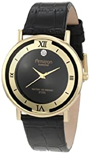 Armitron Men's Diamond Accented Gold-Tone Dress with Black Leather Strap Watch