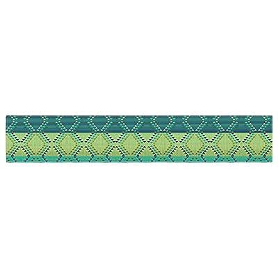 "KESS InHouse Nina May ""Denin Diamond Gradient Green"" Turquoise Emerald Table Runner"
