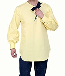 Dazzio Men's Slim Fit Cotton Casual Kurta (DZSH0145_Grey_38)
