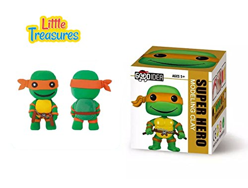 Ninja Turtle Clay modeling and sculpting DIY play-set create your favorite cartoon super-hero characters with molding play-dough kit - a fun arts and craft children toy project clean safe - Non-toxic (Ninja Turtle Dough compare prices)