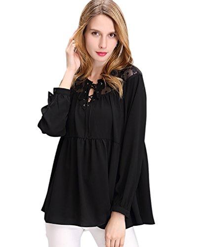 NiSeng Camicie a Tunica Chiffon Blouse Loose Camicie Donna Maniche Lunghe Taglie Forti Canotte di Pizzo Hollow out Nero XL