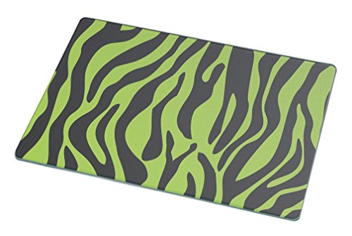 Rikki Knight RK-LGCB-328 Zebra Design on Lime Green Glass Cutting Board, Large, White