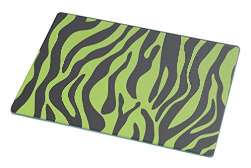 Rikki Knight RK-LGCB-328 Zebra Design on Lime Green Glass Cutting Board, Large, White