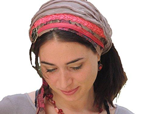 Sara Attali Design Tichel Half Hair Covering Headband Chemo Cap Headband Pre-tied Bandana One Size Pink Red (Pre Tied Tichel compare prices)
