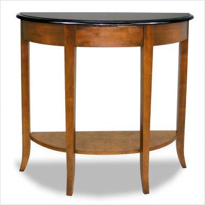 "Granite Top Demilune Console Table (Pecan) (30""H x 32""W x 11""D)"