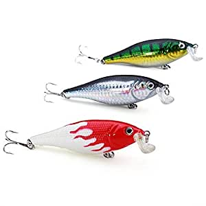 3pcs lot minnow hard fishing lures bass for Amazon fishing lures