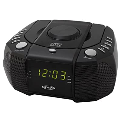Jensen JCR-310 Top Loading AM/FM PLL Stereo CD Dual Alarm Clock Radio with 0.6-Inch Green LED Display and Aux Line-In