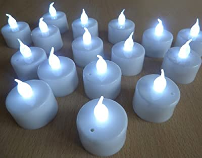 Set Of 12 Led Battery Tea Candle Lights With White Flame & Base ** Ideal For Weddings, Homes, Christmas, Etc ** from LEDER