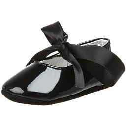Ralph Lauren Layette Briley Ballet Crib Shoe (Infant/Toddler),Black Patent,0 M US Infant