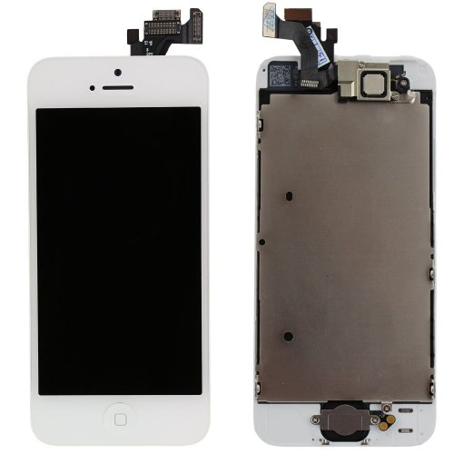 For Iphone 5 White Lcd Display Touch Screen Glass Digitizer Assembly With Spare Parts (Home Button & Camera & Flex Cable Sensor)