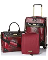 "Samantha Brown Embossed Ombre Burgundy Spinner 3-piece Luggage Set 20"" Upright, Cosmetic Case & Dowel Bag"