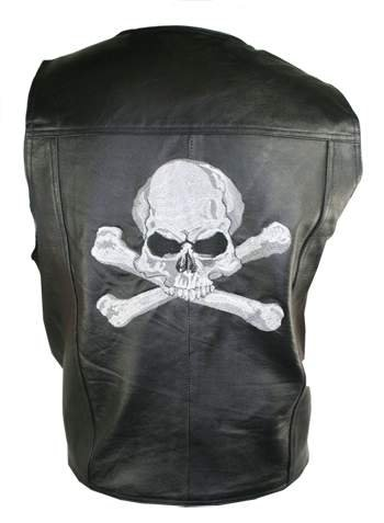 Mens Black Skull and Bones Embroidered Leather