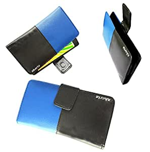nKarta (TM) High Quality Dual Shade Elastic Side Leather Pouch Cover Case for Micromax Canvas Spark Q380 - Blue Black