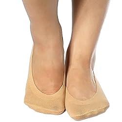 kilofly Non-Skid Silicone Patch No Show Cotton Liner Socks Value Pack, 2 Paris