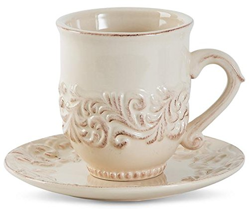 Gg Acanthus Leaf Cup And Saucer Set, SET OF 4, CREAM