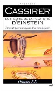 La theorie de la relativite d'einstein oeuvres volume XX par Cassirer
