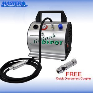 Master Airbrush Model Tc-60, Super Quiet High Performance Airbrush Compressor With A 6 Inch Braided Hose With Mini-Inline Moisture Filter And A Free Quick Disconnect