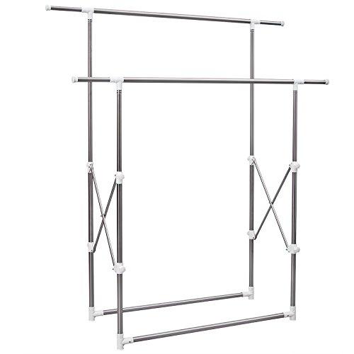 SONGMICS Double Rod Adjustable Garment Rack Collapsible & Portable ULLR501W (Adjustable Double Garment Rack compare prices)